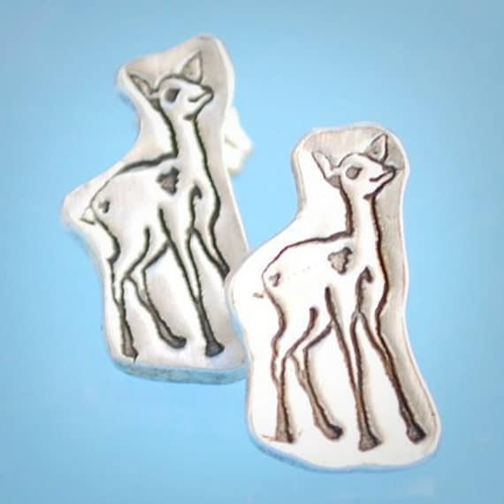 ON SALE... mini DEER stud earrings, eco-friendly silver.  Handcrafted by Chocolate and Steel