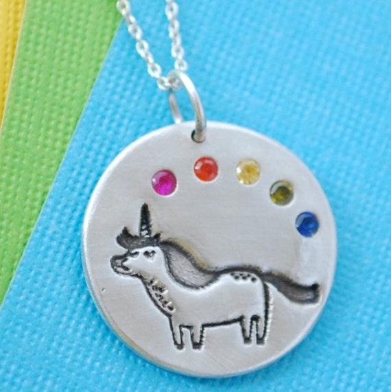 UNICORN and RAINBOW necklace, GEMMA Correll Illustration, eco-friendly silver. Handcrafted by Chocolate and Steel