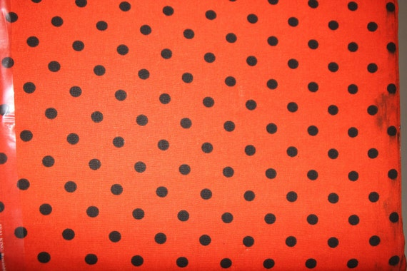 1 yard - Orange/Red and Black Small Dotcha Fabric - Marshall Dry Goods - quilt weight fabric