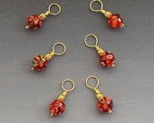 Set of 6 Red Millefiori Flower Ball Knitting Stitch Markers
