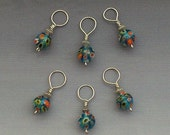 Set of 6 Blue Millefiori Flower Knitting Stitch Markers