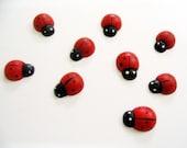 Cute Little ladybug wood Cabochons 25 pcs size 12 mm.