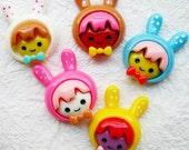 10 pcs. Little girl in polka dot bunny helmet cab 24x30 mm.