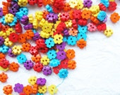 Tiny 2 hole flower button - 4 mm.  100 pcs assorted colors for making Barbie, Blythe and dolls clothes SET 6