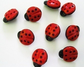 Red ladybug shank buttons - 24 pcs