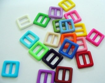 Opaque tiny square buckle for Barbie, Blythe and dolls 20 pcs assorted color