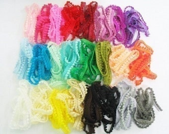 24 yards of Very Tiny pom pom trim assorted colors for making Barbie, Blythe and dolls clothes SET 6