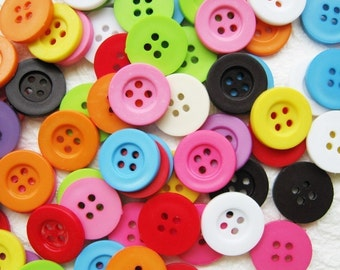 Four holes colorful buttons 100 pcs - 15 mm.