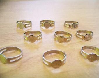 50 pcs of steel tone adjustable ring pad blank findings
