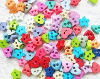Tiny 2 hole button heart and star shape - 5 mm. 100 pcs assorted colors for making Barbie, Blythe and dolls clothes SET1