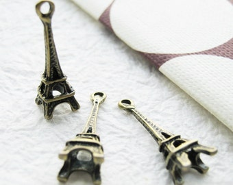 10 pcs of  tiny charms - Antique brass small Eiffel Tower charm