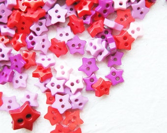 Tiny 2 hole button star shape - 4, 6 and 8 mm. 100 pcs assorted colors for making Barbie, Blythe and dolls clothes SET2