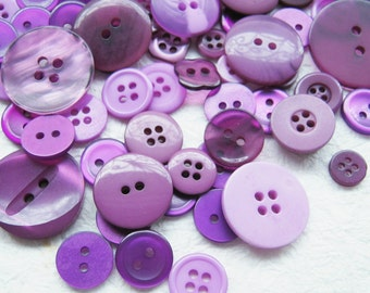 Purple Shade Buttons mixed size  - 200 pcs