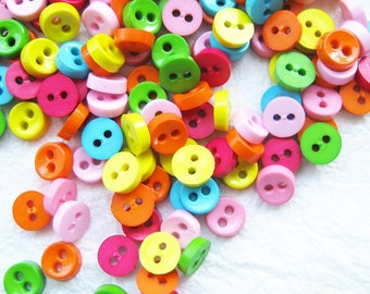 SALES 100 pcs Tiny 2 hole button - 6.5 mm. for making Barbie, Blythe and dolls clothes SET16