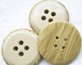 4-hole Jumbo wood look a like in latte brown Buttons 34 mm. - 10 pcs