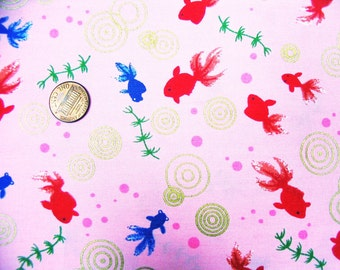 Cute cotton fabric - Gold fish on pink background