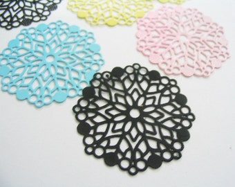 10 Pcs of round filigree charm assorted color - 28 mm