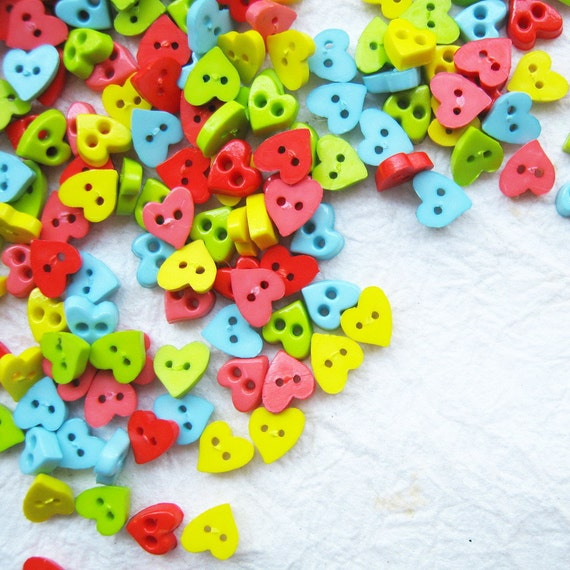 Tiny 2 hole heart  button - 6 mm.  100 pcs assorted colors for making Barbie, Blythe and dolls clothes SET2