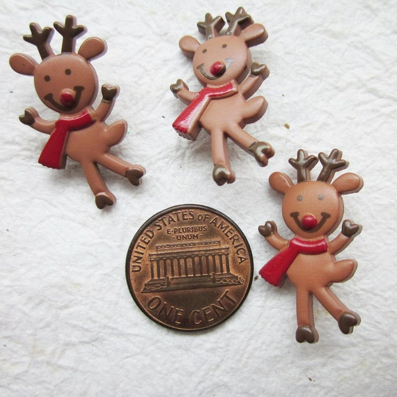 Dancing little reindeer with red scarf shank buttons - 24 pcs