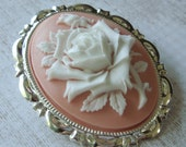 Blush. Rose Cameo Brooch