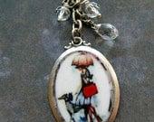 Greyhound and lady under umbrella Necklace