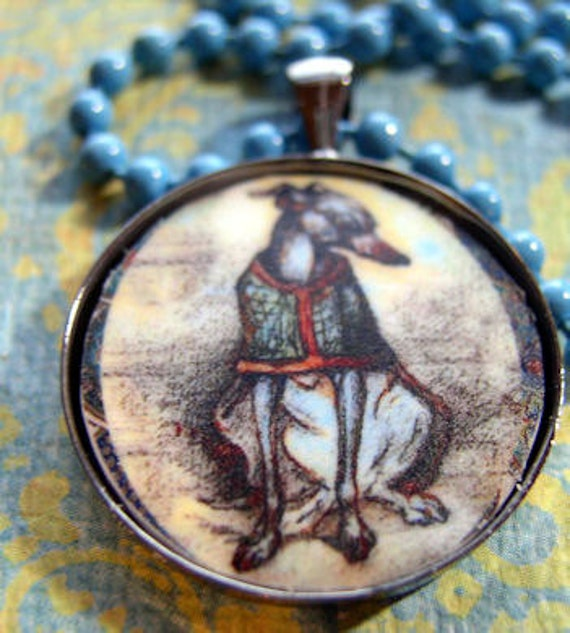 Italian Greyhound in a Coat Necklace
