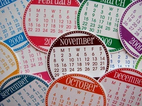 2009 Calendar Tags - Set of 12 circles - Brights