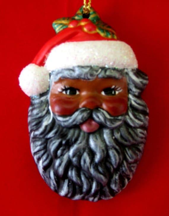 African american santa claus ornament handpainted