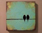 Original Painting - Textured Birds on a Wire - Perfect gift for wedding or anniversary