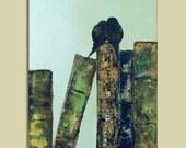 Original Painting Pair of Birds on VIntage Inspired Books - On Sale