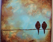 Custom Bird on a Wire Sculpted Painting - 12 x 12 x 1.5 inches deep