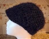 Soft Black Kitten Urban Newsboy Hat - Womens Cap with Visor