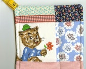 Quilted Potholder- Cat with the Green Hat