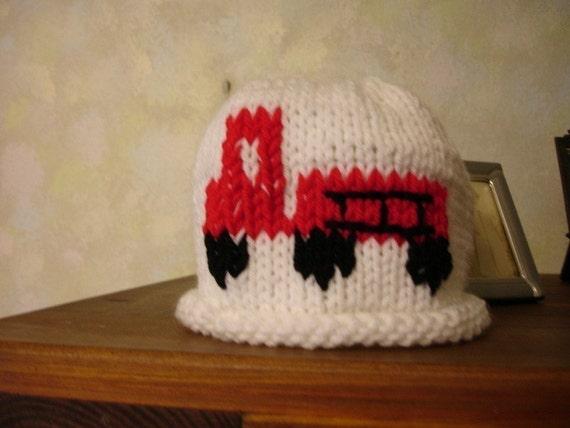knited fire Engine Truck hat  - white hat