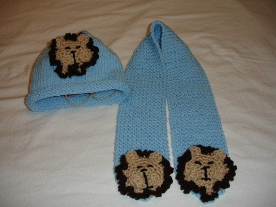 Lion Hat and Scarf Set - you choose the color