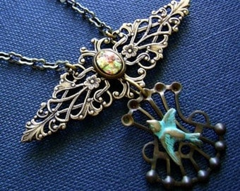 Corset Necklace, Steampunk Jewelry, Antique Gold Filigree Necklace, Sparrow Necklace, Fire Opal Harlequin Glass, Brass Chain, OOAK