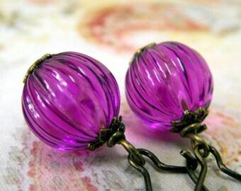 Purple Lovers - Vintage Lucite Melon Purple Earrings - Gifts Under 25