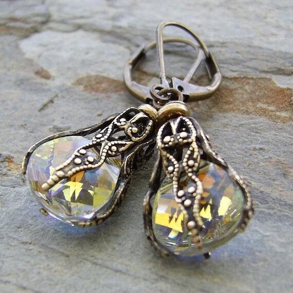 Filigree Crystal Earrings Christmas Baubles