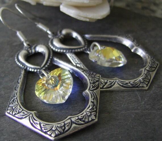 Art Deco Crystal Silver Earrings, Swarovski® Crystal Heart Earrings, Antique Silver Earrings, Bohemian Earrings, Vintage Inspired