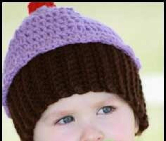 PDF Cupcake Hat Crochet Pattern 2 sizes Baby and Child Immediate Download