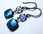 Cobalt Blue Pearl Earrings Pearl and Crystal Earrings Midnight Blue Earrings