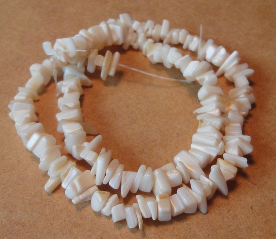 Mother of Pearl Shell Chip Beads Natural White Beads Cream Beige Beads