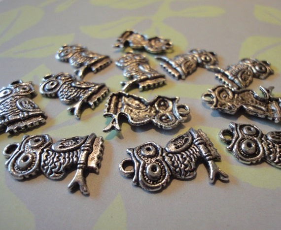 For Marci Antique Silver Owl Charms. Sixty. Woodland Nature Bird Jewelry Making Crafts
