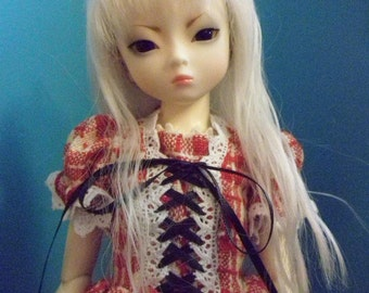 Red and White checkered weave lolita dress MSD