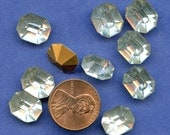 LARGE OCTAGON RHINESTONES  Lot of (12)  Vintage  Glass Rectangle 10mm x 12mm Gold Foil Back  mORE aVAILABLE 0t2