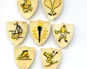 Vintage SPORTS PATCHES 7  Embroidered  for embellishment mixed media altered art etc  8062