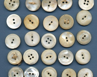 Lot of 25 - count em 25 - Medium  Vintage Shell Mother of Pearl Buttons 3/4 inch size