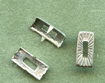 VINTAGE 1940s Pronged Studs RECTANGLE CUTOUTS  Textured Lot of (50) Nickle for Paper or Fabric MoRE AvAILABLE