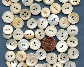 Vintage MOP Shell Lot of 50 - count em 50 - Small Small Mother of Pearl Buttons 3/8 inch size