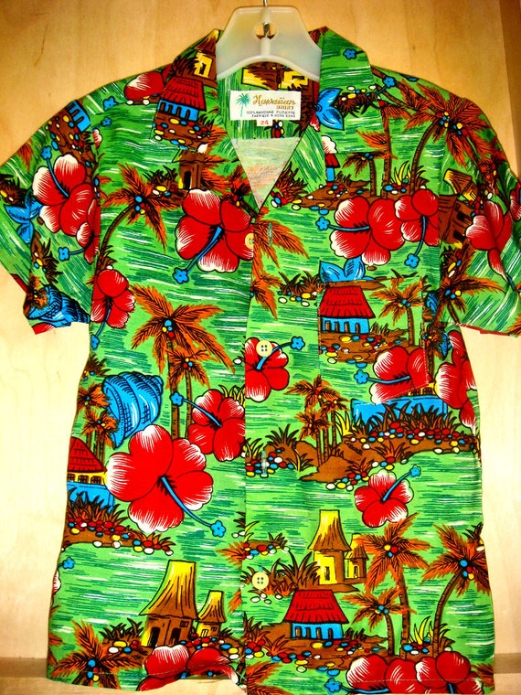 Childrens Vintage Hawaiian Shirt  Rayon  24  months Green, Red, Blue ADORABLE